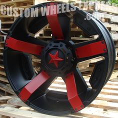 KMC XD XD811 RS2 - Shown with inserts painted red. - KMC XD Series XD811 RS2 Rockstar II Satin Black Custom Wheels Rims