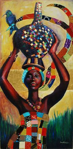 African Artwork #orange #yellow #blue #green #africa #history #culture #powerful #africanartwork #art #strong #female African Artwork, African Paintings, African American Artist, African Artists, Afrique Art, Caribbean Art, Art Africain, Black Artwork, Black Women Art