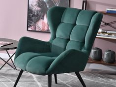 Fotel do salonu KIKORI ZIELONY BUTELKOWY uszak z weluru - Mebel-Partner.pl Wingback Chair, Armchair, Celine, Accent Chairs, Furniture, Home Decor, Living Room, Sofa Chair, Upholstered Chairs