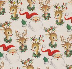 Vintage Christmas Wrap Santa and Reindeer