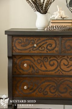 Miss Mustard Seed - black milk paint for my poor antique dresser