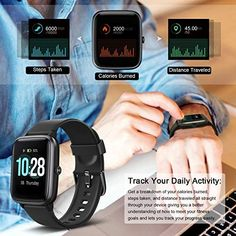 Letsfit Smart Watch, Fitness Tracker with Heart Rate Monitor, Activity Tracker with Touch Screen, Waterproof Pedometer Smartwatch with Sleep Monitor, Step Counter for Women and Men – Abro Smartphone Gps, Life Hackers, Thing 1, Fitness Watch, Heart Rate Monitor, Fitness Tracker, Burn Calories, Smart Watch, Watches For Men