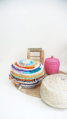 BOUCHEROUITE Pouf Crochet    Thick Cotton  by lacasadecoto on Etsy