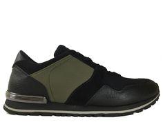 Sneakers Tod's - Todrun Access en nubuck, cuir imprimé et néoprène noir et kaki