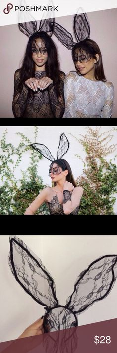NWT  Black Lace Bunny Ears costume dress up  Brand new lace bunny ears! Cute way to dress up your cute little dress for Halloween or any dress up event! Bendable/reformable to give them your preferred look. See my other listing for the white lace ears in same style! Nasty Gal Accessories