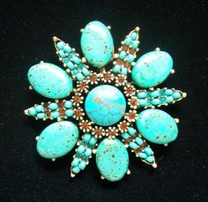 VINTAGE SIGNED HOBE PIN BROOCH TURQUOISE GLASS STONES RHINESTONES--EXCEPTIONAL!!