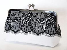 Victorian Eyelash Silk And Lace Clutch In Black by lostintimeinc, $65.00