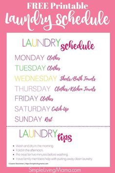 If you are struggling with the laundry, this large family laundry routine will help you figure out a routine that works for your family. Snag the free printable laundry schedule for a visual reminder of what to wash every day! Household Cleaning Schedule, Laundry Schedule, Zone Cleaning, Day Schedule, Cleaning Schedules, Weekly Cleaning, Cleaning Hacks, Doing Laundry, Laundry Hacks
