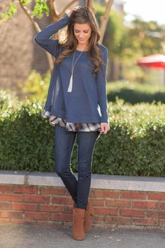 """""""Dare To Be Preppy, Navy"""" Dare to be preppy in this adorable top! The navy body of this top is comfy and stretchy but the plaid ruffled hemline is where it's at! #newarrivals #shopthemint"""