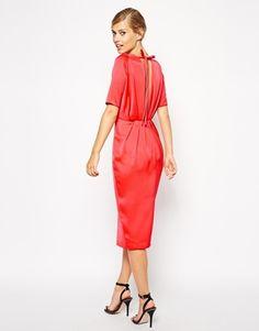 ASOS Sleeved Drape Back Midi Dress