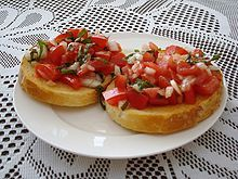 bruschetta with tomatoes, basil, garlic and feta cheese - pair these with some other great deck foods and a drinks :)