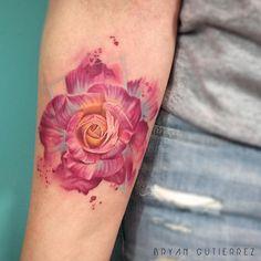 Beautiful rose by Bryan Gutierrez Rose Tattoos, Flower Tattoos, New Tattoos, Saved Tattoo, I Tattoo, Creative Tattoos, Unique Tattoos, Amazing Tattoos, Rose Sleeve