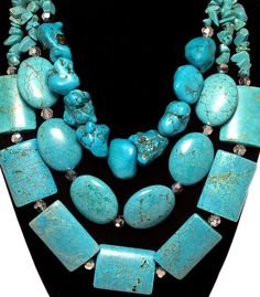 TURQUOISE GEMSTONE Statement Necklace by JewelryByJessicaT on Etsy