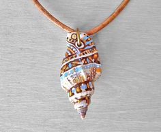 Painted Shell Necklace  Hand Painted Sea Shell by OneUrbanTribe, $40.00