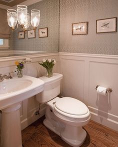 Powder Room Design: mirrored wall for a small space