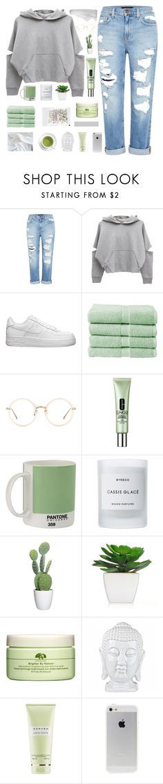 """""""A D O X O G R A P H Y"""" by dreyanaxo ❤ liked on Polyvore featuring Genetic Denim, NIKE, Christy, Linda Farrow, Clinique, W2 Products, Byredo, Origins and Carven"""
