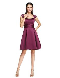 760dfb93ffe7 [$79.99] A-Line Square Neck Knee Length Lace / Satin Bridesmaid Dress with  Sash / Ribbon / Ruched / Pleats by LAN TING BRIDE®