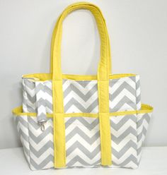 Chevron Diaper Bag Tote Nappy Bag Extra Large Gray and Yellow Grey. $95.00, via Etsy.