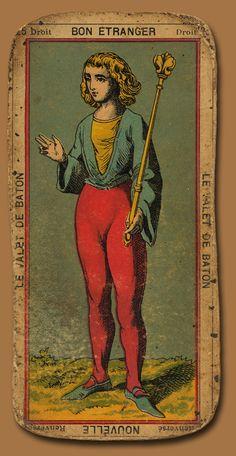 VB. le Valet de Baton. Bon Etranger (droit). Nouvelle (renversé). vintage tarot card