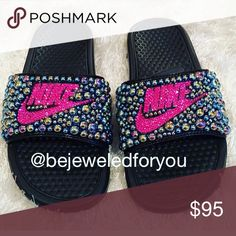 Shop Women's Nike size 8 Slippers at a discounted price at Poshmark. Description: Nike Benassi Slides with Fuchsia Swarovski Crystal and Two Tone Jet Pearls (All Sizes Available). Bling Sandals, Nike Sandals, Bling Shoes, Bling Bling, Bling Flip Flops, Flip Flop Shoes, Nike Benassi Slides, Bling Purses, Painted Sneakers