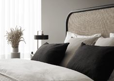 Interior inspiration from - Our Tyyni bed, Basic Round headboard and bedding looking great in this apartment styled by Bo LKV… Bedroom Retreat, Bedroom Inspo, Master Bedroom, Bedroom Decor, Bedroom Styles, Bedroom Designs, Grey Interior Design, Hotel Room Design, Suites