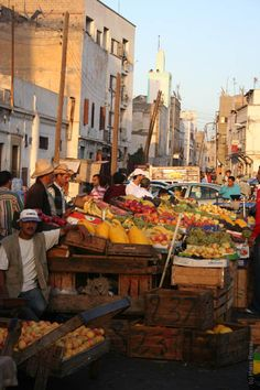Casablanca, Morocco -fruit-market-: When I was in Morocco the shops were very busy.  It was an experience like non other I've ever had.