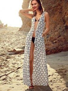 242e3c9102917 HOT Women Chiffon Beach Dress Stripe Long Beach Dress Swimwear Sexy  Geometric Swimsuit Dress Bikini Cover Up Beach Wear