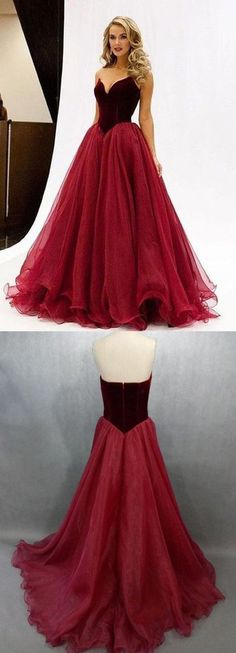 Charming Prom Dress,V-Neck Prom Dress,A-Line Organza Prom Dress,Noble Evening Dress,Long Red Prom Dresses,Fashion Prom Dress, 2017 prom dresses, 17078