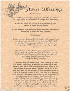 House Blessing Parchment Page for Book of Shadows