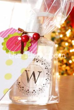 27 MORE Expensive Looking DIY Gifts. Crafts and DIY Gift Ideas for Him, for Her, for Family and Friends.  Perfect for Birthday, Christmas, Mom and Dad. | Monogrammed Hand Sanitizer bottles | http://diyjoy.com/homemade-diy-gifts-pinterest