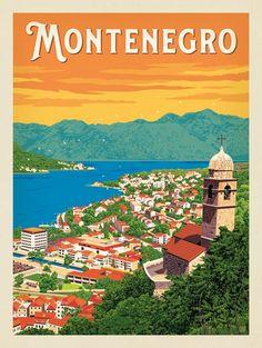 Anderson Design Group – World Travel – Montenegro Vintage Travel Posters, Vintage Postcards, Vintage Ski, Art Deco Posters, Poster Prints, Montenegro Travel, Illustrations Vintage, Travel Wall, Belle Photo