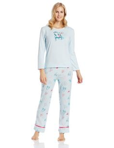 Black Friday Goodnight Kiss Women's Two Cute Novelty Pajama Set, Blue Cat On Chair, Small from Goodnight Kiss Cyber Monday
