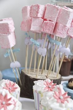 Marshmallow pops-  super cute girl woodland birthday party!
