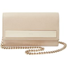 Furla Mia Small Saffiano Leather Pochette ($199) ❤ liked on Polyvore featuring bags, handbags, clutches, furla, saffiano leather handbag, furla handbags, convertible clutch and flat purse