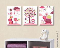 Lot de 3 illustrations pour chambre d'enfant fille, décoration chambre bébé, réf.5 rose violet vert : Chambre d'enfant, de bébé par cashemir