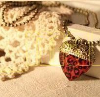 """Vintage Style Red Leopard Heart 28"""" Necklace Free S/H No Buyer Fees"""
