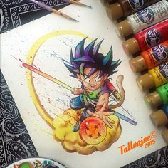 Here is my first entry for the #DBZArtComp hosted by 8 great artist including @vanimecustoms @dbz.sketches and @alexkhleif_art ! #KidGoku commissioned and made with acrylics on watercolor paper. Who's your favorite DBZ character?