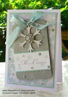 """Fabulous """"Merry Christmas"""" Snowflake Card...Kerry Bunting: Stampin' Up! - kbpapercraftblogspot."""