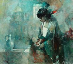 "Waclaw Sporski ""Urban Madonna"" 70х60 Oil On Canvas sporskiart.com"