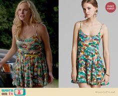 Caroline's pineapple printed dress on The Vampire Diaries.  Outfit Details: http://wornontv.net/37508/ #TheVampireDiaries