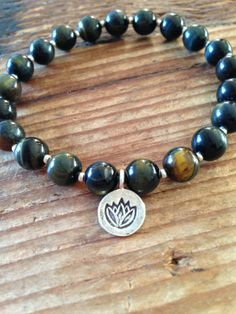 Beautiful new Blue Tiger's Eye and Silver Bracelet with Thai Silver Lotus Charm!