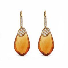 Genuine Citrine Gemstone Dangle Earrings Pave Diamond 14K Yellow Gold Jewelry #Handmade #Stud Citrine Earrings, Citrine Gemstone, Women's Earrings, Solid Gold Jewelry, Dangles, Gemstones, Diamond, Yellow, Handmade