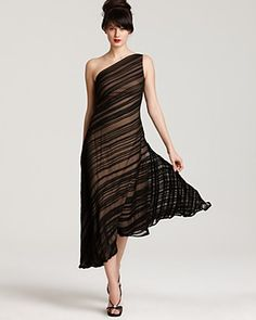 Tadashi Shoji's diagonally striped chiffon. This is the sort of thing that could be brilliant or disastrous depending on who's wearing it. But at least in principle: That. Is. So. Cool.