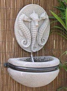 Seahorse and Bowl Stone Water Feature