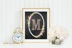 Monogram Wall Art, Oval sketched wreath with flowers, Wall Decor,sketch font,pink nursery,custom with options, digital Printable Gray Frames