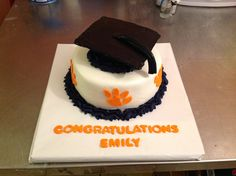 clemson cake, graduat cake, graduation cake