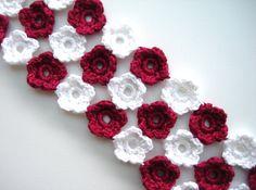 Crochet Bracelet Crochet Flowers Snow White Red