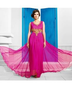 Stitched Dark Pink Color Net Designer Gown #ohnineone