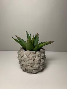 Pineapple Concrete Planter - Succulent Planter - Tea Light - Home Decor Concrete Planters, Planter Pots, Color Blending, Custom Boxes, Minimal Design, Planting Succulents, Tea Lights, Pot Holders, Pineapple