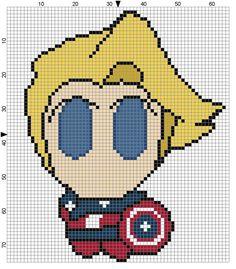 Steve Rogers Weenie Cross Stitch Pattern by TeaPartyRevolution